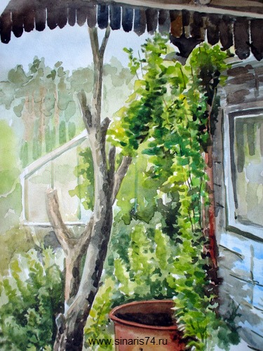 drawing, watercolor, Old Garden, greenhouse, a barrel of water, wood, herbs, house, window