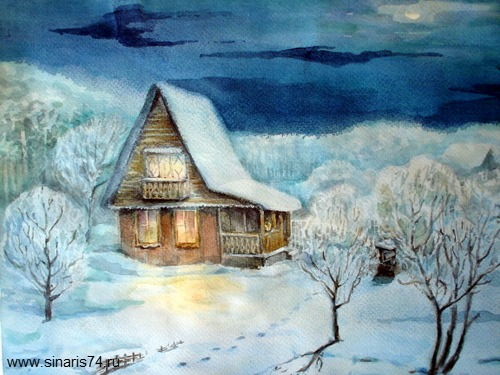 drawing, watercolor, Winter Garden, garden, garden house, winter, trails, trees, snow, night, the moon, the clouds, the light in the windows, porch
