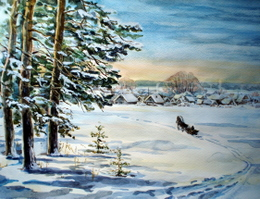 drawing, watercolor, Outskirts of village, village, forest, horse, trail, sleigh, pine trees, snow, winter, evening