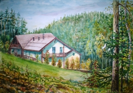 drawing, watercolor, Echo Hotel, house, forest, trees, mountains