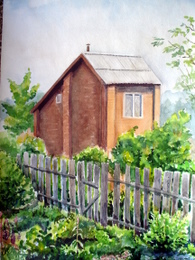 drawing, watercolor, Brick House, brick house, fence, foliage, garden, garden, summer, sunny day