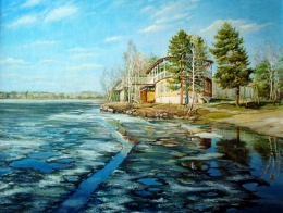 drawing, watercolor, She came, lake, house, ice, shore, trees