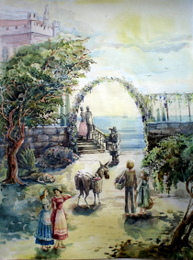 drawing, watercolor, Donkey in the square, city, castle, area, village, tree, arch, people, dresses, sun, sky