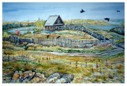 drawing, watercolor, Silach lake, lodge on the shore, house, fence, birds, crows, rocks, autumn