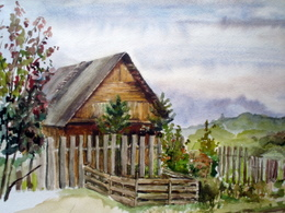 drawing, watercolor, Old House, fence, the old house, the garden, the bushes, the gray sky