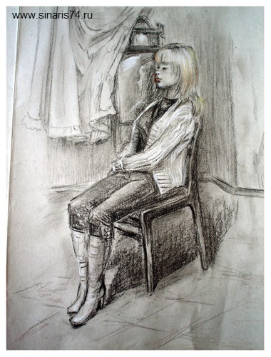 drawing, watercolor, Academic drawing, girl on a chair, girl, boots, chair, graphics