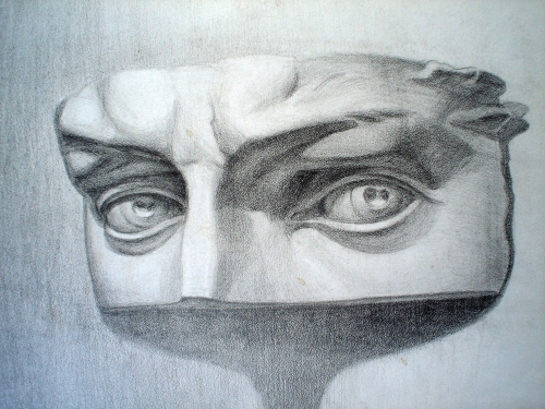 drawing, watercolor, Training pattern, plaster, eyes, eyebrows, eyelids