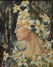 drawing, watercolor, Circe, Girl with flowers on her head