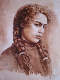 drawing, watercolor, Girl with a braid, Strict girl braids