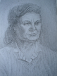 drawing, watercolor, mother's portrait, woman, mom