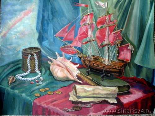 drawing, watercolor, Red Sails, pearls, card, box, ship model, medallion