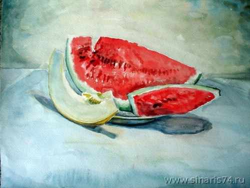 drawing, watercolor, Watermelon and melon, watermelon, cantaloupe, berries