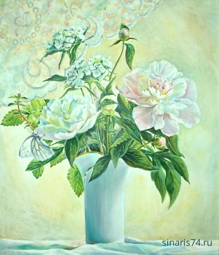 drawing, watercolor, White Bouquet, bouquet, flowers, vase