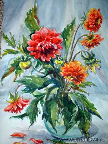 drawing, watercolor, Bouquet of red flowers, bouquet, red flowers, vase, leaves