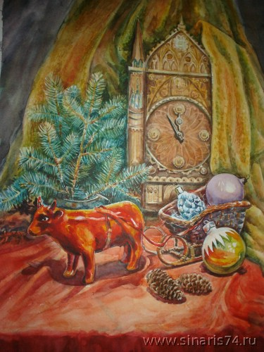 drawing, watercolor, Year of the Ox, tree, bull, watches, Christmas balls, cones, sleigh
