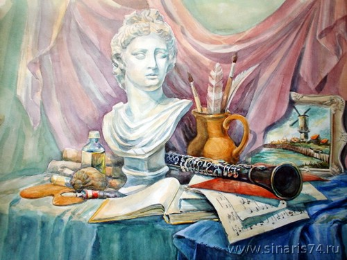 drawing, watercolor, In the artist's studio, sculpture, pipe, pitcher, music, paint