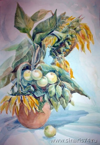 drawing, watercolor, Sunflowers, vase, sunflowers, apples