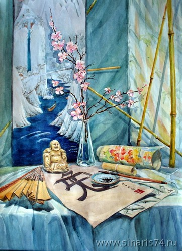 drawing, watercolor, Sakura, Japan, sakura, ink, a fan, a vase, a hieroglyph
