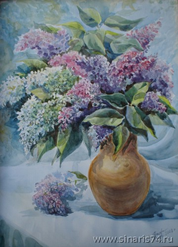 drawing, watercolor, Lilac, bouquet, lilac, vase