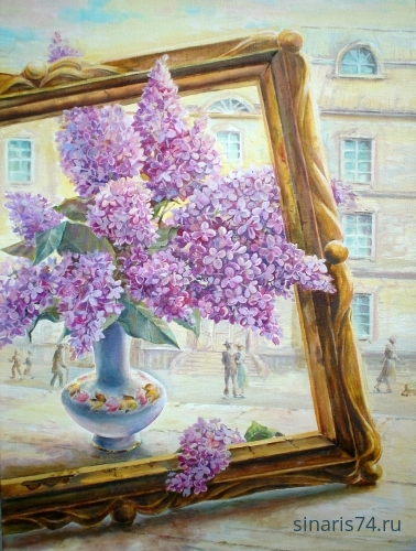 drawing, watercolor, Lilac Portrait, lilac, frame, vase