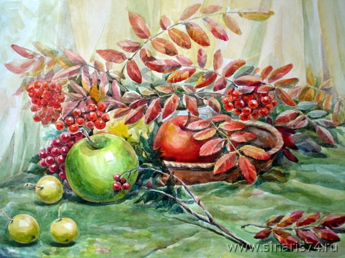 drawing, watercolor, A branch of mountain ash, apples, mountain ash, branches
