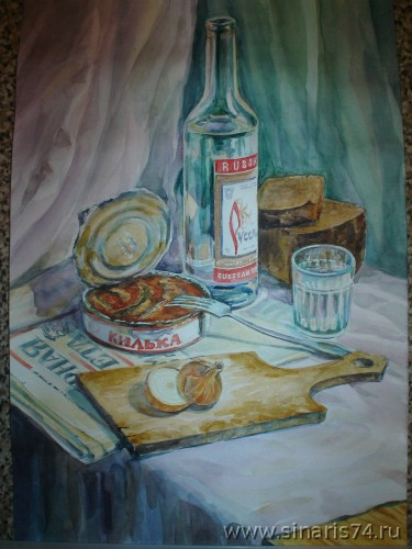 drawing, watercolor, Russian Still Life, onions, Russian vodka, sprats, bread, a stack, a literary newspaper, fork