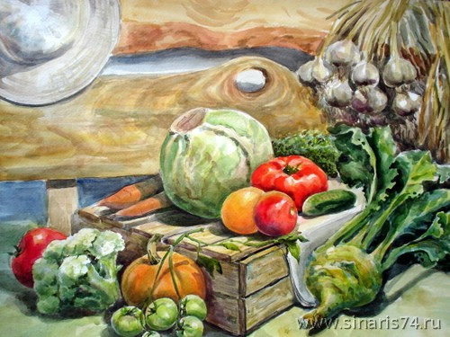drawing, watercolor, Harvest, vegetables, crops, cabbage, tomatoes, garlic, turnips, box, carrots, pumpkin, cucumber