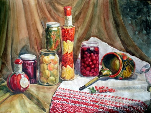 drawing, watercolor, Preserves in banks, stocking up on winter fruit compote