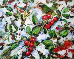 drawing, watercolor, Lingonberry. First snow, berries, snow, leaves