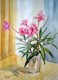 drawing, watercolor, Flowers, glass vase, flowers
