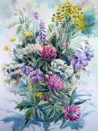 drawing, watercolor, Flowers in a bouquet, bouquet flowers
