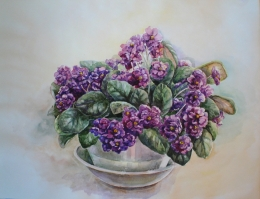 drawing, watercolor, Violet, flowers, vase