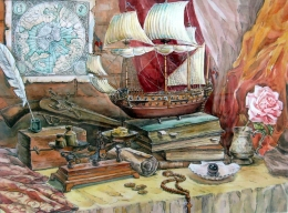 drawing, watercolor, In search of treasure, ship, sails