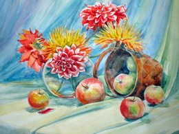 drawing, watercolor, Basket of apples, apples, flowers, vase, basket