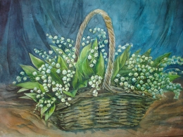 drawing, watercolor, Lilies of the valley, bouquet, basket, leaf