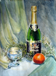 drawing, watercolor, New Year, champagne, candle, fir branch
