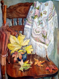 drawing, watercolor, Autumn mood, maple leaves, autumn, scarf, chair, cup, umbrella