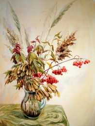 drawing, watercolor, Autumn Bouquet, bouquet, vase, berries