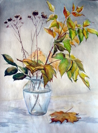 drawing, watercolor, Autumn Bouquet, autumn leaves, vase