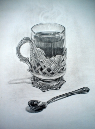 drawing, watercolor, Training image, holder, cup, spoon, tea