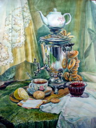 drawing, watercolor, Everything is ready to tea drinking, samovar, tea, lemon, biscuits, jam, bagels, cup