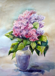 drawing, watercolor, Lilac in a vase, Lilac, vase, leaves