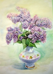 drawing, watercolor, Lilac, a bouquet of lilacs in a vase
