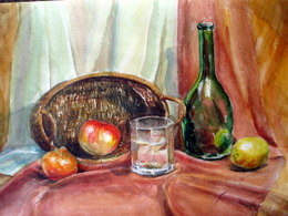 drawing, watercolor, Glass, glass bottle, fruit basket
