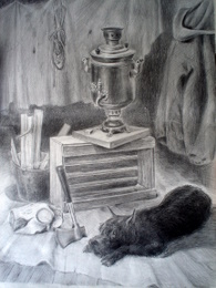 drawing, watercolor, Old Dog, schedule, the dog, a samovar, an ax and firewood