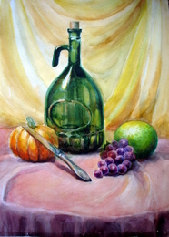 drawing, watercolor, Pumpkin, bottle, a knife, a pumpkin, grapes