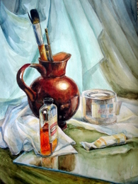 drawing, watercolor, In the studio, jar, brushes, paints
