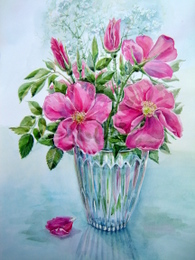 drawing, watercolor, Vase with the flowers, bouquet, vase, red flowers