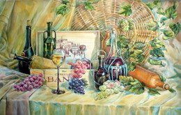 drawing, watercolor, Wines, wine basket, wine, glass, bottles