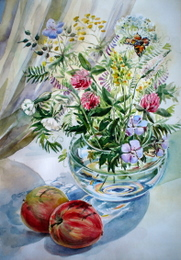drawing, watercolor, Apples and a vase with flowers, bouquet, vase, flowers, apples